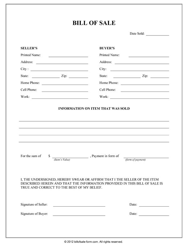 bill of sale template pdf Bill Of Sale Form