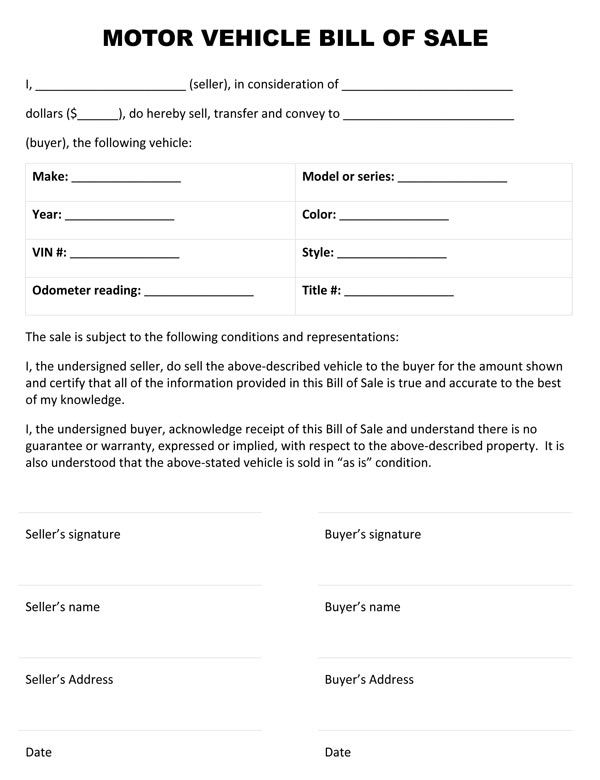 bill of sale forms for cars Vehicle Bill Of Sale Form