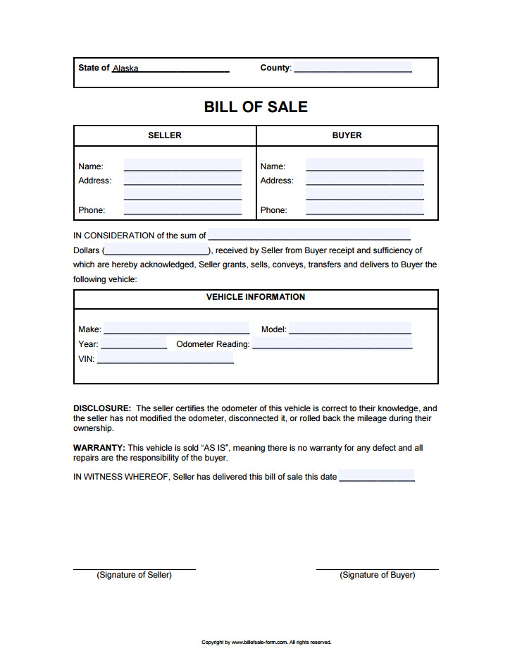 Alaska Bill Of Sale