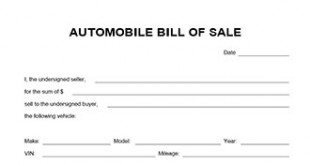 generic auto bill of sale