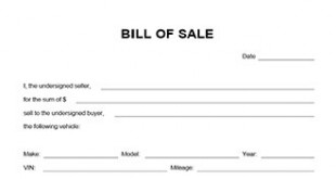 Vehicle Bill Of Form