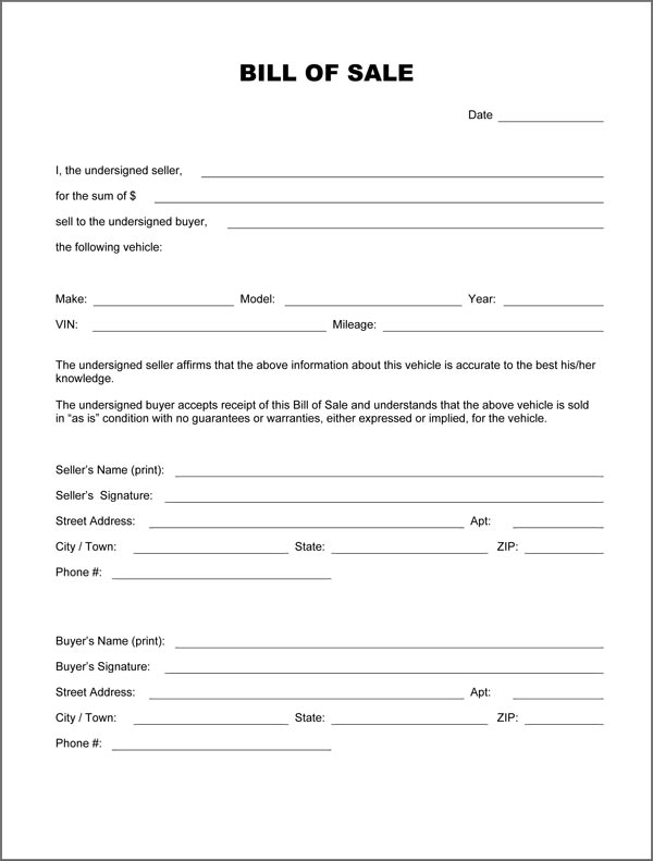 Bill Of Sale Form Car