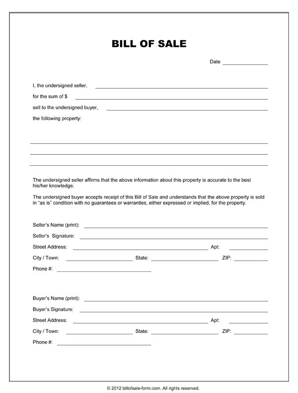 Blank Bill Of Sale Form  Free Printable Bill Of Sale For Boat