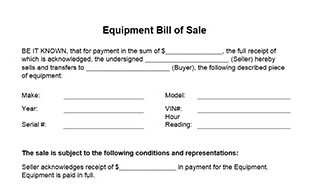 Equipment Bill Of Sale Form