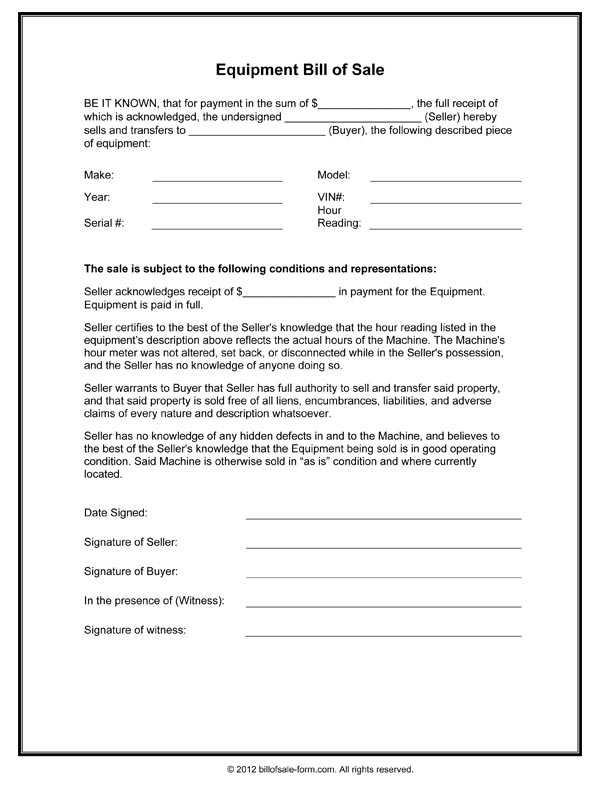 Equipment Bill Of Sale Form  Bill Of Sale Template Word