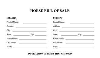 Bill Of Sale Form And Free Horse Bill Of Sale