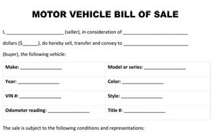 Florida motor vehicle title application for South carolina department of motor vehicles bill of sale