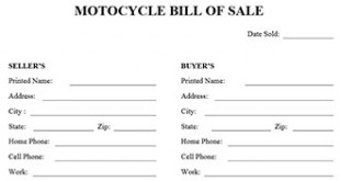 Motorcycle Bill Of Sale Form  Bill Of Sale Word Doc