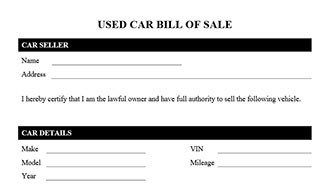 sale of vehicle