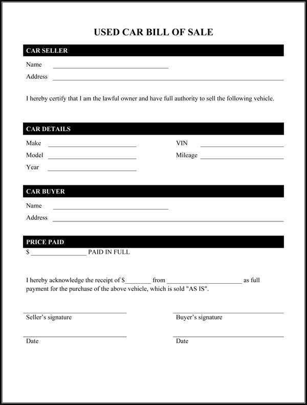 used car bill of sale form