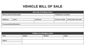 Vehicle bill of sale form for Tennessee motor vehicle bill of sale