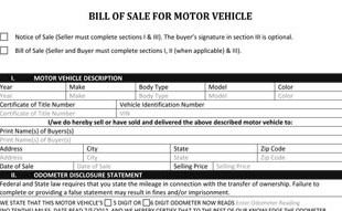 Automotive Bill Of Sale Form