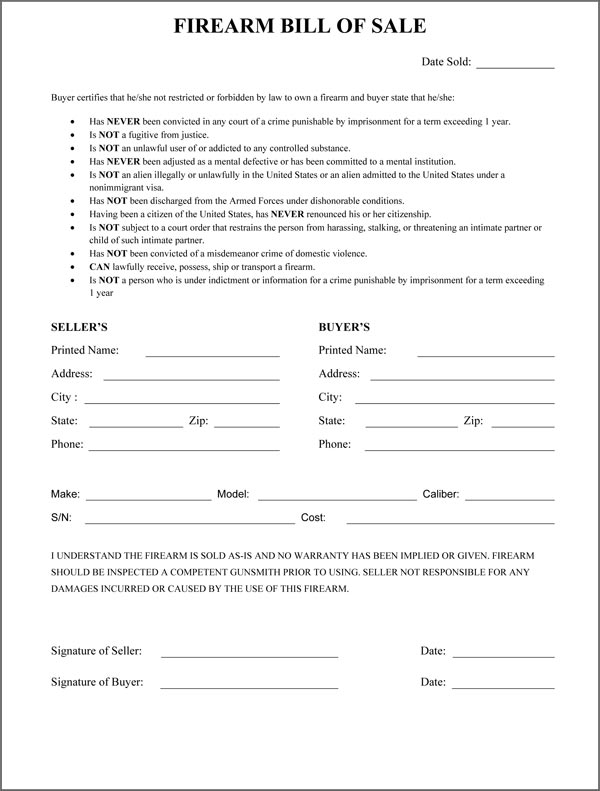 Firearm Bill Of Sale Form – Gun Bill of Sale