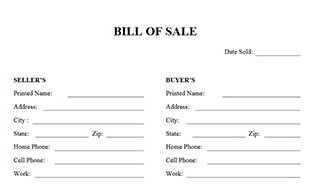 printable bill of sale template