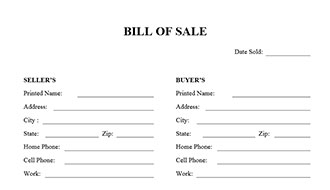 Bill Of Sale Form  Bill Of Sale Generic