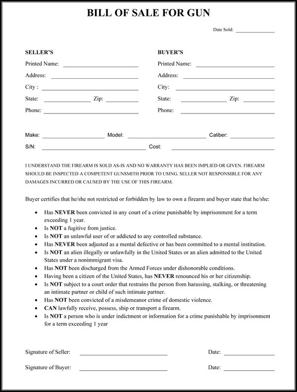 gun bill of sale Bill Of Sale Form