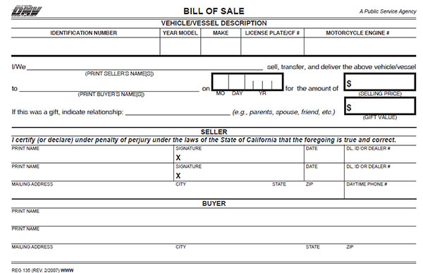 dmv bill of sale form ca California Bill of Sale Form