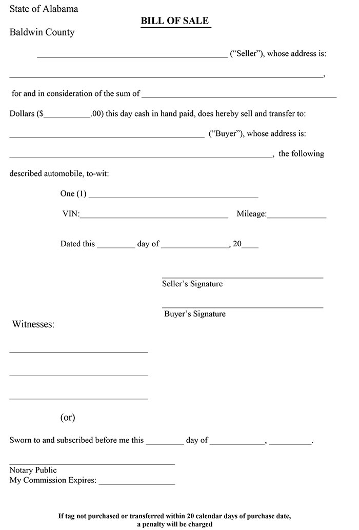 alabama automotive bill of sale Alabama Bill of sale Form