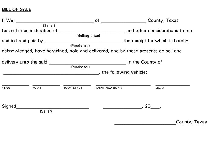 bill of sale texas form Texas Bill of Sale Form