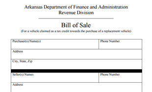 Arkansas bill of sale form