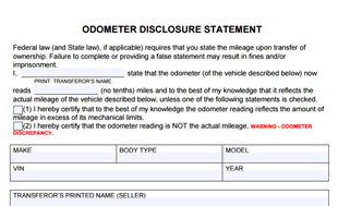 Odometer Disclosure Statement form
