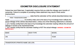 Odometer Disclosure Statement