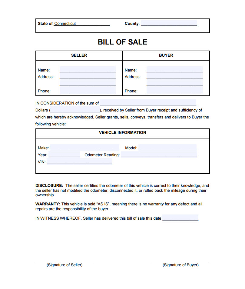 bill of sale example for a car