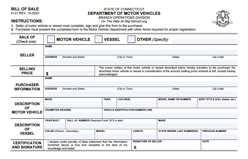 Connecticut bill of sale for Florida motor vehicle number