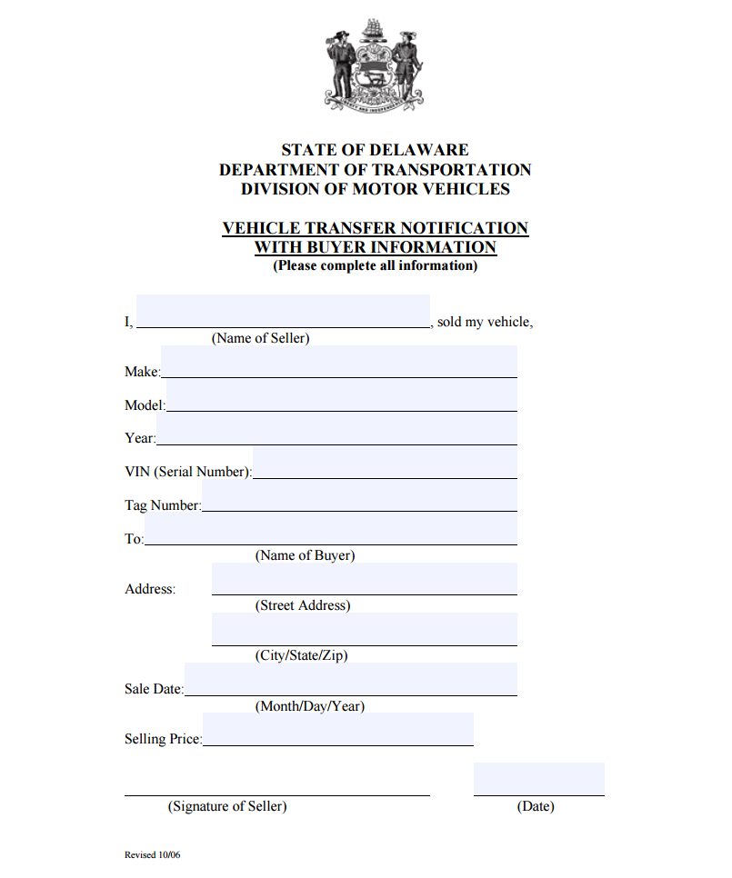 Delaware Bill Of Sale  Bill Of Sale Template For Boat